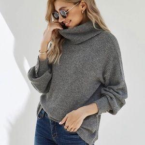 Drop shoulder turtleneck sweater